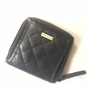 Kate Spade Black Quilted Leather Zip Around Wallet